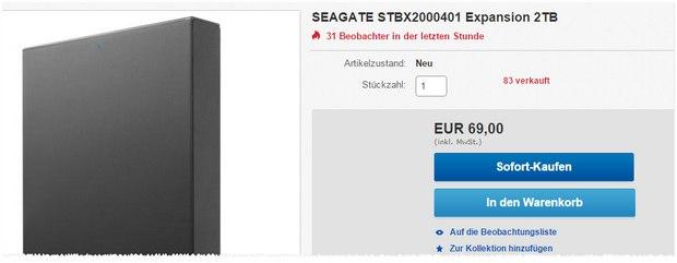Seagate Expansion Portable Festplatte 2 TB bei Media Markt für 69 €
