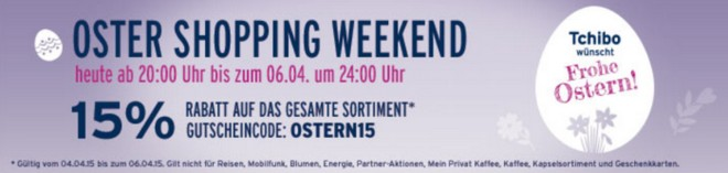 Tchibo Oster Shopping Weekend