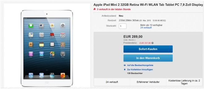 Apple iPad mini 2 Retina 32GB mit WiFi
