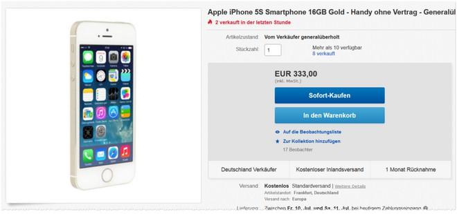 Apple iPhone 5S ohne Vertrag als generalüberholte B-Ware