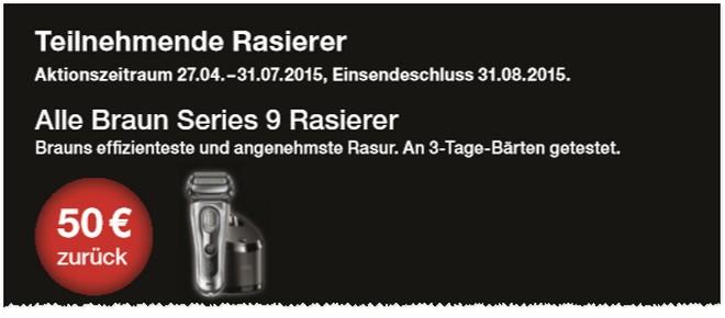 Braun Series 9 Rasierer mit 50 Euro Cashback