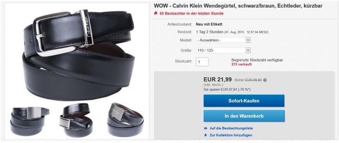 Calvin Klein Ledergürtel als eBay Angebot