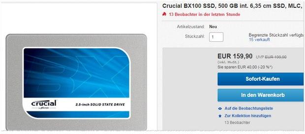 Crucial BX 100 SSD mit 500 GB Speicher
