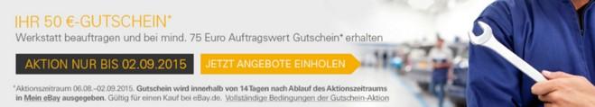 eBay Motors Werkstattportal: Auftrag abgeben, Gutschein geschenkt bekommen
