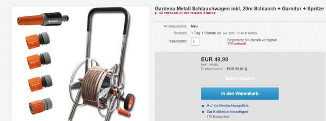 gardena metall schlauchwagen f r 49 99. Black Bedroom Furniture Sets. Home Design Ideas