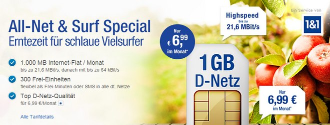 GMX.DE All-Net & Surf Special zum Outlet-Preis: 300 Min./SMS + 1 GB Internet-Flat für 6,99 €