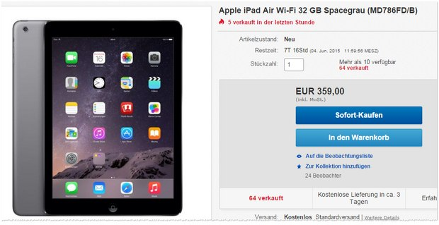 iPad Air 32 GB für 359 €