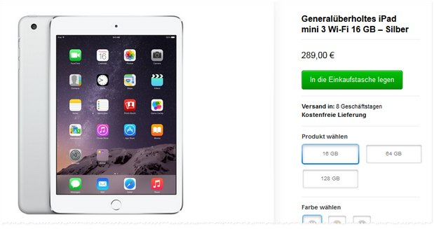 iPad mini 3 generalüberholt im Apple-Outlet für 289 €