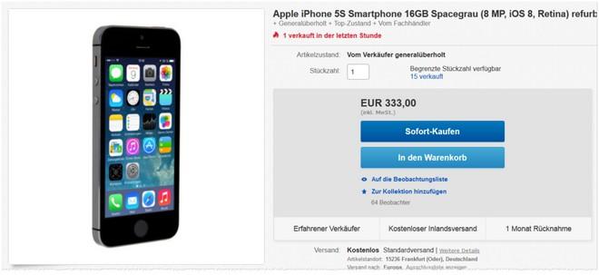 generalüberholtes iPhone 5S zum Refurbished-Preis im Angebot bei eBay