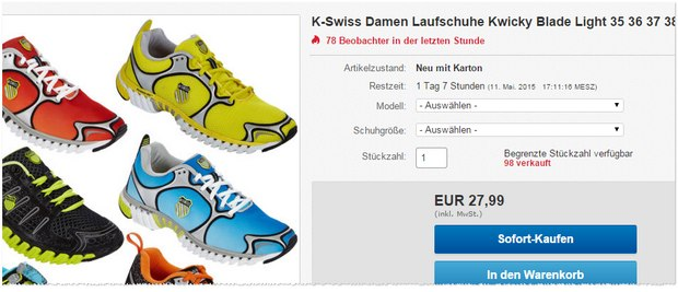 K-Swiss Laufschuhe für 27,99 €