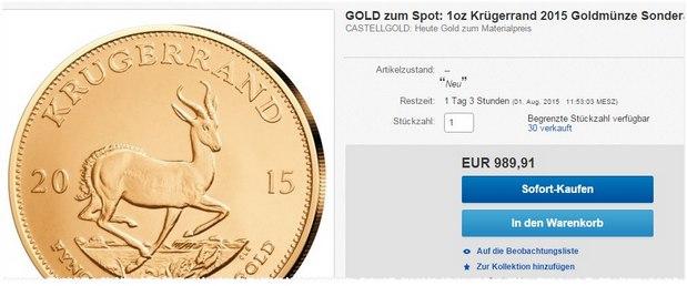 Krugerrand-Goldmünze (Unze) zum Goldpreis ca. 1.000 € als eBay-Tagesangebot!