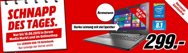 Lenovo G50-70 als Media Markt Schnapp des Tages am 18.6.2015 für 299 €