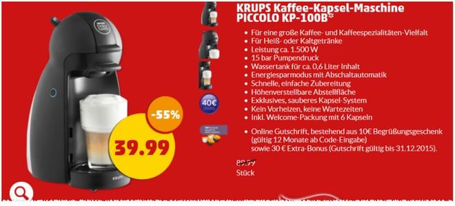Nescafé Dolce Gusto Krups Piccolo KP-100B als PENNY Angebot