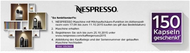 "Nespresso ""Cashback"" Aktion mit 150 Gratis-Kapseln"