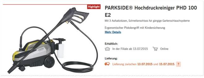 Parkside PHD 100 E3 Hochdruckreiniger