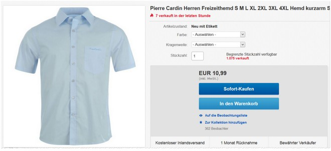 Pierre Cardin Kurzarm-Hemden im Angebot