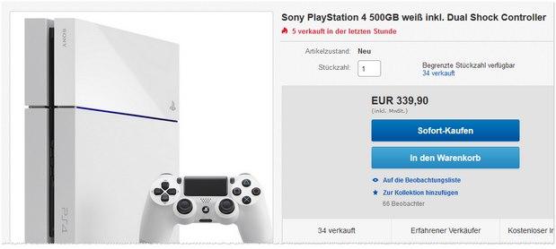 PlayStation 4 in Weiß günstiger