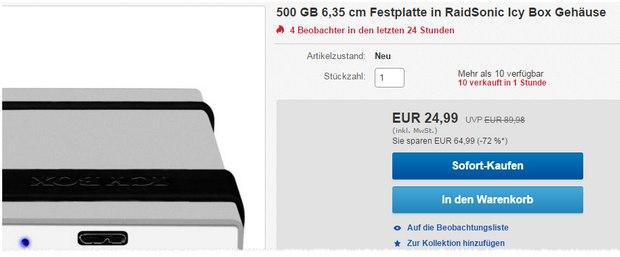 RaidSonic Icy Box + 500 GB Festplatte nur noch 24,99 € bei Gravis!