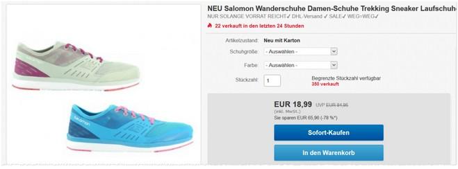Salomon Wanderschuhe bei eBay im Angebot