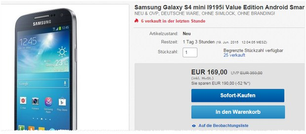 Samsung Galaxy S4 mini ohne Vertrag in der Value Edition für 169 €