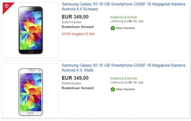 Samsung Galaxy S5 ohne Vertrag neu für 349 €