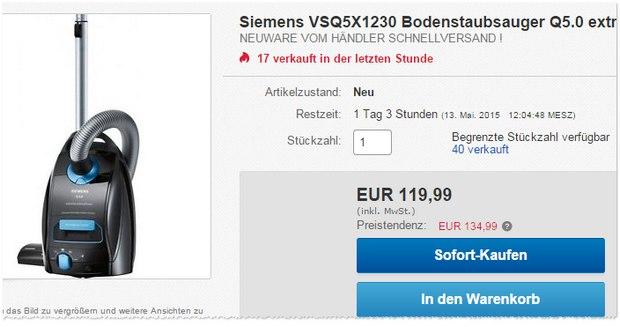 Der Staubsauger Siemens VSQ5X1230 ist Testsieger