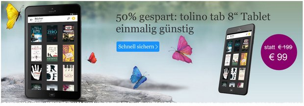 Tolino Tab 8: Trekstor-Tablet bei eBook.de nur 99 €