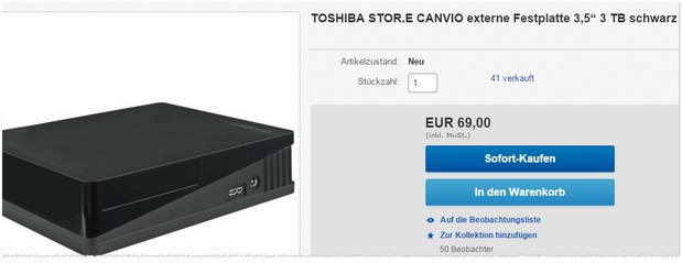 Toshiba Canvio 3TB bei Media Markt 69 €