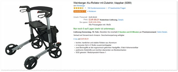 Weinberger Alu-Rollator bei Amazon