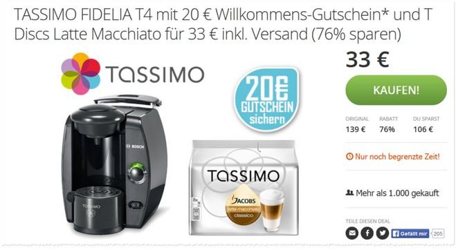 Bosch Tassimo Aktion bei Groupon mit Gutschein für den Tassimo Online Shop