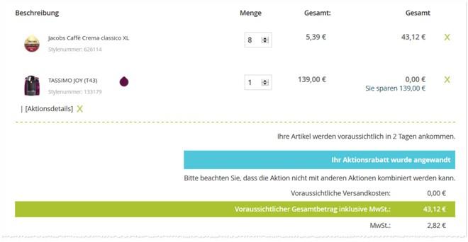 Bosch Tassimo Angebot: Maschine gratis dazu