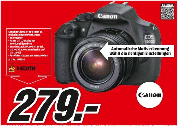 Canon EOS 1200D im Media-Markt-Prospekt für 279 €