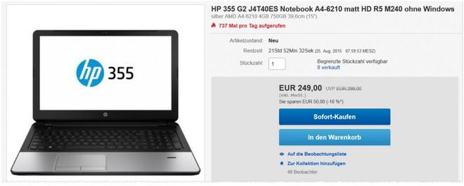 HP 355 G2 als eBay Angebot von Cyberport