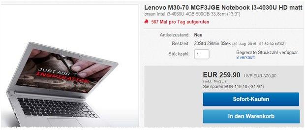 Lenovo M30-70 (MCF3JGE): 13,3 Zoll Notebook bei Cyberport / eBay nur 259,90 €