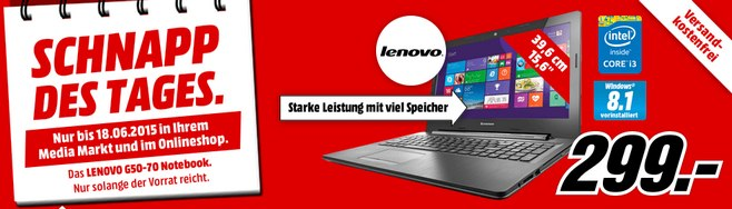 Media Markt Schnapp des Tages am 18.6.2015: Lenovo Laptop