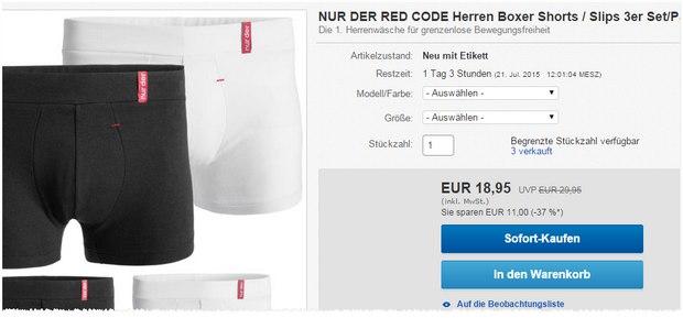 NurDer RedCode Unterwäsche für 18,95 €