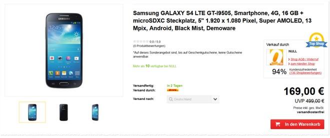 Samsung Galaxy S4 ohne Vertrag gebraucht günstiger kaufen