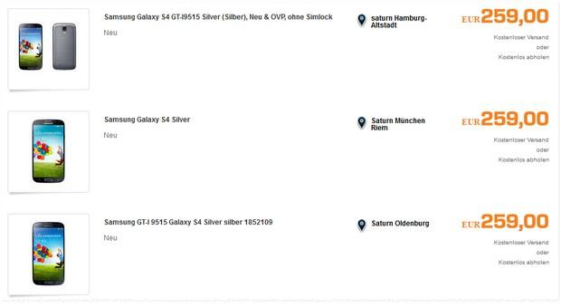 Samsung Galaxy S4 bei Saturn im Outlet bei eBay auf 259 € reduziert