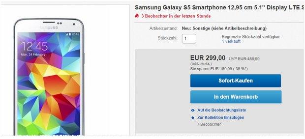Samsung Galaxy S5 ohne Vertrag für 299 €