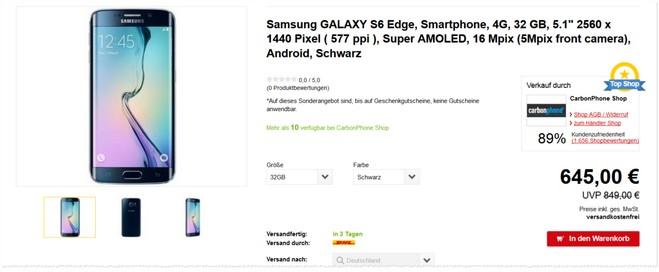 Samsung Galaxy S6 Edge ohne Vertrag als Neuware