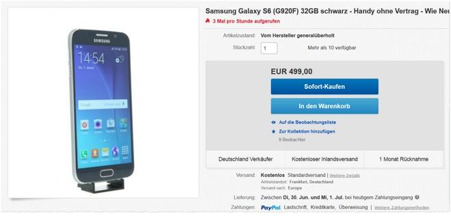 Samsung Galaxy S6 ohne Vertrag als B-Ware
