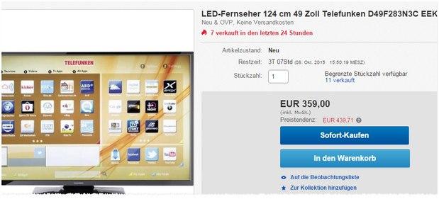 Telefunken D49F283N3C als eBay-Tagesangebot vom 5.10.2015 für 359 €