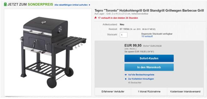 Tepro Toronto Holzkohle-Grillwagen bei eBay im Angebot
