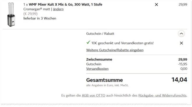 WMF Kult X Mix and Go Mixer für OTTO Neukunden