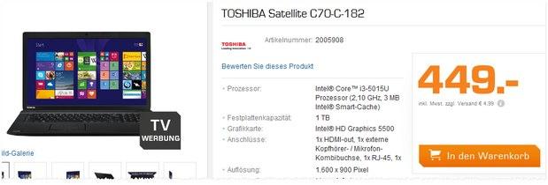 Toshiba Satellite C70-C-182 aus der Saturn-TV-WerbungToshiba Satellite C70-C-182 aus der Saturn-TV-Werbung