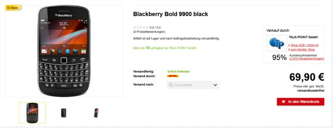 Blackberry Bold 9900 B-Ware