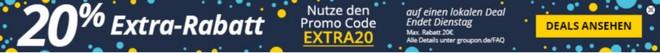 Groupon: 20 Prozent Extra-Rabatt-Gutschein