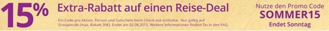 Groupon Gutschein für Sommer-Rabatt auf Reisen