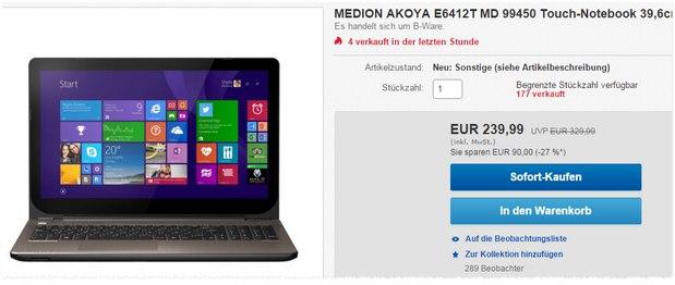 Medion Akoya E6412T MD 99450 als B-Ware 239,99 € - bei ALDI Anfang 2015 noch für 349 € im Angebot