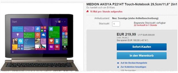 Medion Akoya P2214T Touch-Notebook als B-Ware aus dem Medion-Outlet 219,99 € - ehemals 349 € neu bei ALDI